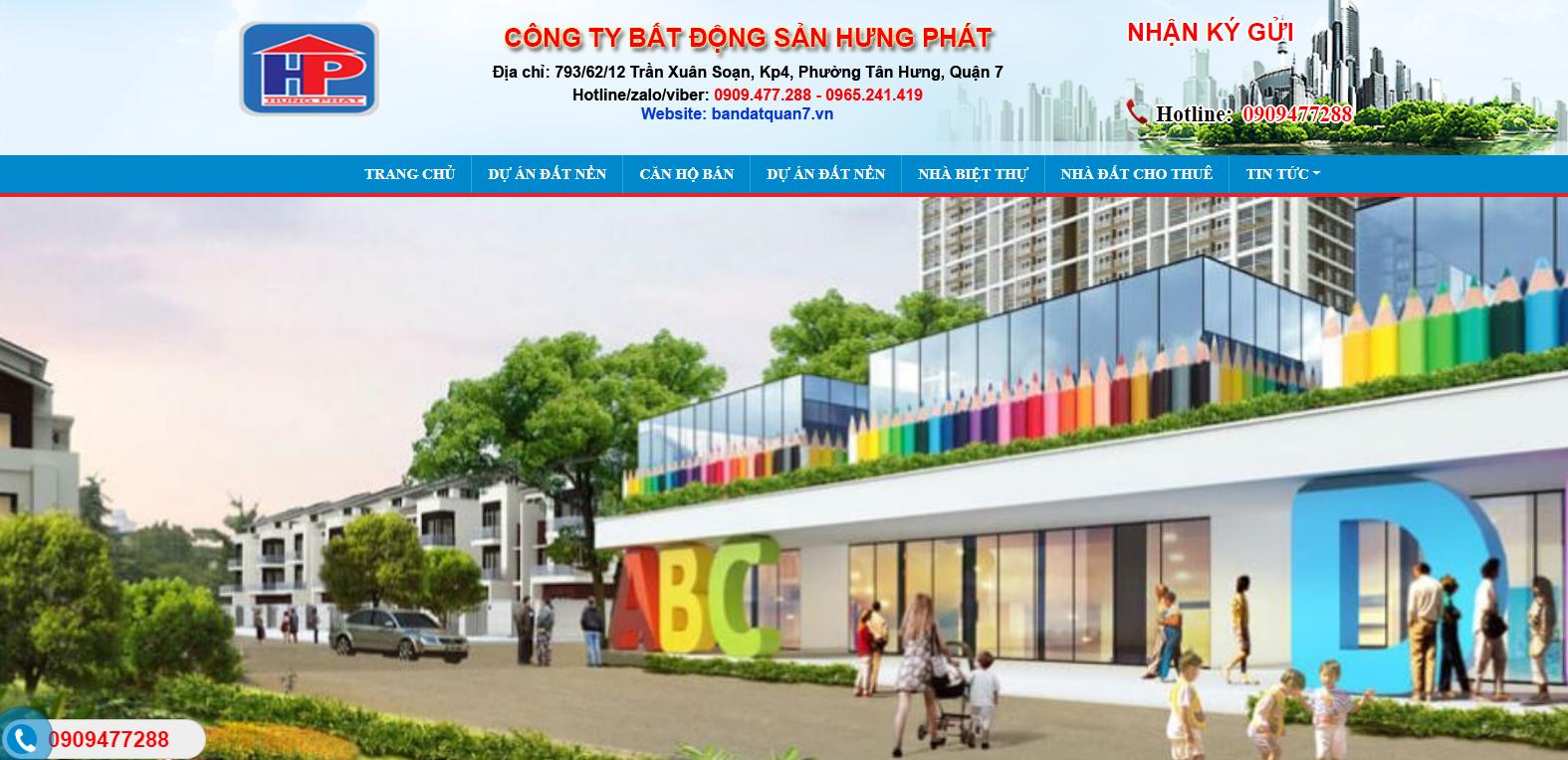 Mẫu website bất động sản bán đất quận 7