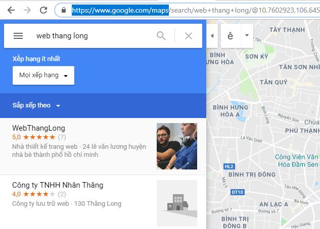 Tìm kiếm ở địa chỉ google map