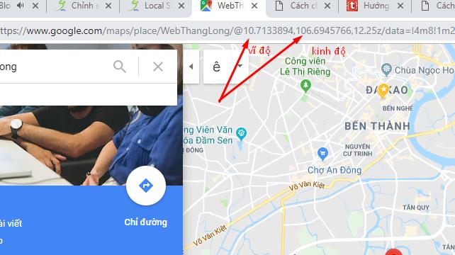 Xác định kinh độ vĩ độ google maps