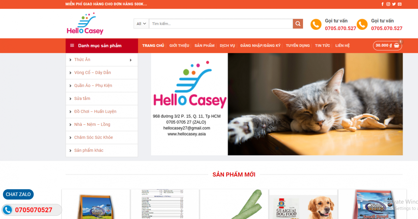 Mẫu website kinh doanh thú cưng Hellocasey.asia