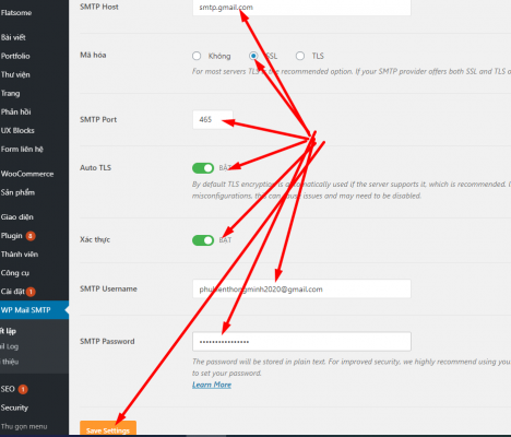 Cấu hình plugin WP Email SMTP với tài khoản gmail